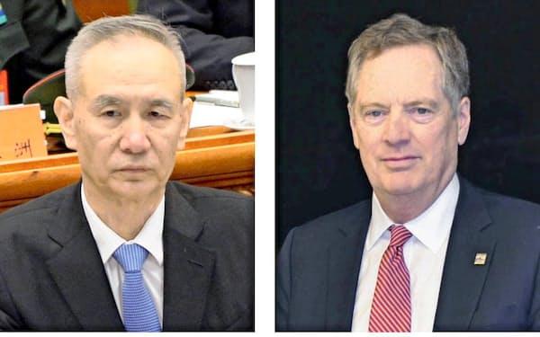 中国の劉鶴副首相(左)、ライトハイザー米通商代表=共同