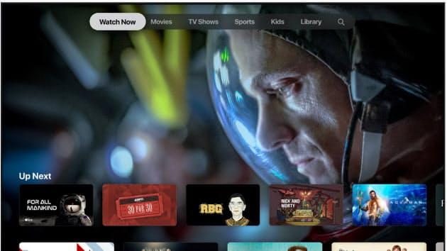 アップルが1日に始めた独自の動画配信サービス「TV+」の画面