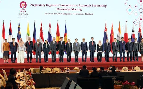 RCEP交渉では少なくとも関税協議などは年内には終えられない(1日、バンコク)