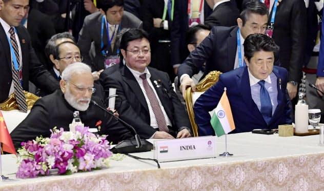 RCEP首脳会合に臨む安倍首相(右)とインドのモディ首相(左)=共同