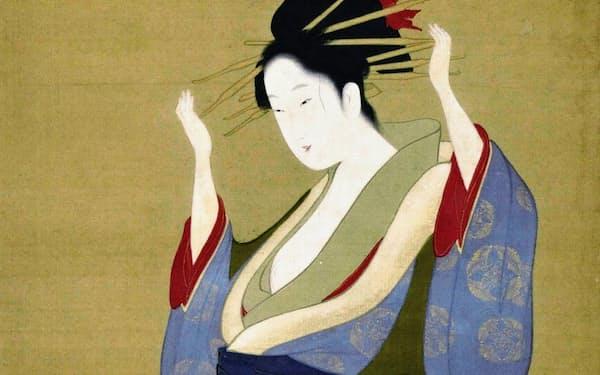 鳥文斎栄之「美人立姿図」(寛政年間後期=1793年~1801年ごろ、絹本着色、個人蔵)