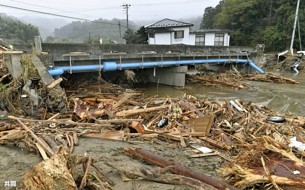 水位計が設置されていなかった宮城県丸森町の五福谷川(10月18日)=共同