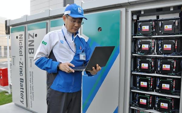 日本ガイシは亜鉛二次電池の事業化に向けて実証実験を重ねている(名古屋市)