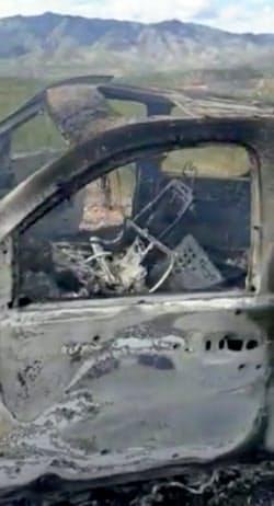 殺害されたモルモン教徒家族が載っていた自動車(メキシコ北部ソノラ州)=ロイター