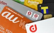 上からポンタカード、Tポイントカード、楽天ポイントカード、au WALLET、dポイントカード