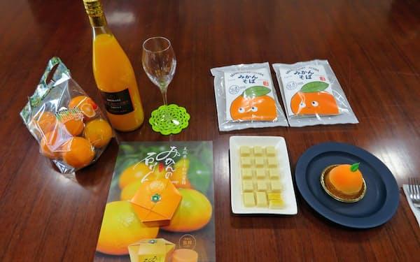 島根県の3事業者が開発した県内産ミカンを使ったせっけん、菓子など