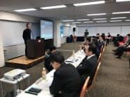 選考会ではグループの各事業会社の社長も参加して協業の可能性を議論(6日、東京都千代田区)
