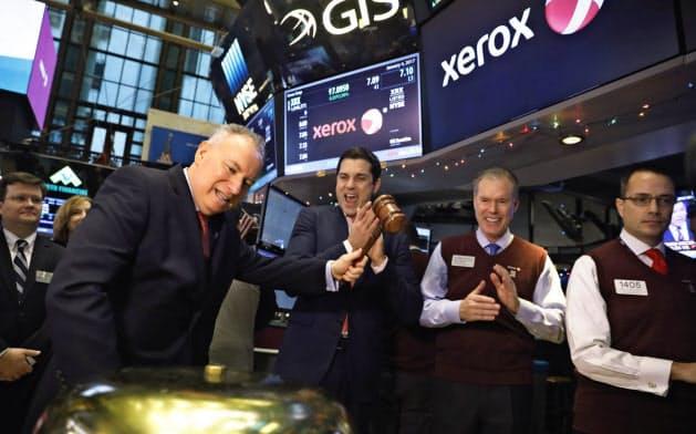 ゼロックスは物言う株主の影響を受けてきた(写真は前CEOのジェフ・ジェイコブソン、2017年)=ロイター
