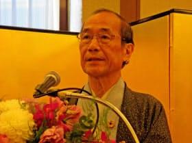 4選出馬を記者会見で表明した京都市の門川大作市長(8日、京都市中京区)