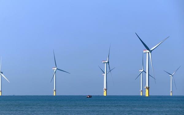 JERAが参画する洋上風力発電設備は年末までに商業運転が始まる(12日、台湾北西部・苗栗県沖)
