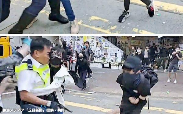 11日、香港で抗議活動中、警官が実弾を発砲し倒れ込む若者(上から下へ)=香港メディア「丘品新聞」提供・共同
