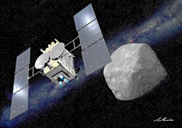 探査機はやぶさ2と小惑星りゅうぐうのイメージ(JAXA・池下章裕氏提供)=共同