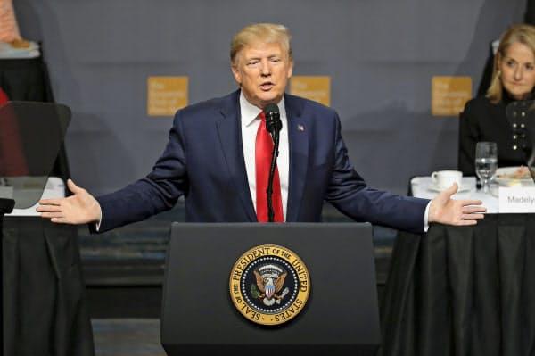ニューヨークで講演するトランプ米大統領(12日)=AP