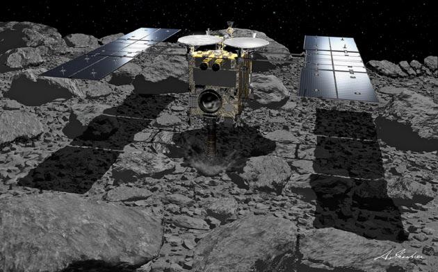 小惑星「りゅうぐう」に着陸する探査機「はやぶさ2」のイメージ=池下章裕氏・JAXA提供
