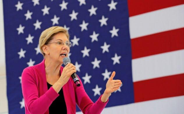 次期大統領選の民主党有力候補、エリザベス・ウォーレン上院議員は富裕税の導入を政策の柱に掲げる=ロイター