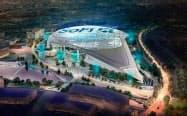 ソーファイが命名権を取得したロサンゼルス郊外の屋外競技場の完成予想図
