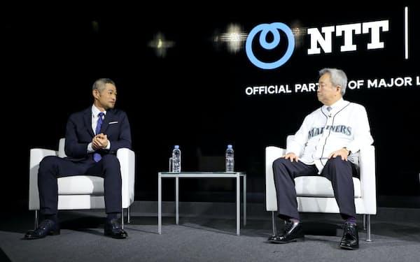 NTTのR&D特別アドバイザーに就任したイチローさん(左)と対談するNTTの澤田純社長(13日、東京都武蔵野市)