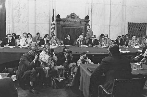 ウォーターゲート疑惑を巡る公聴会(1973年8月)=AP