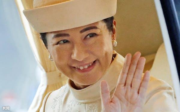 「大嘗宮の儀」のため、皇居に入る皇后さま(14日午後)=共同