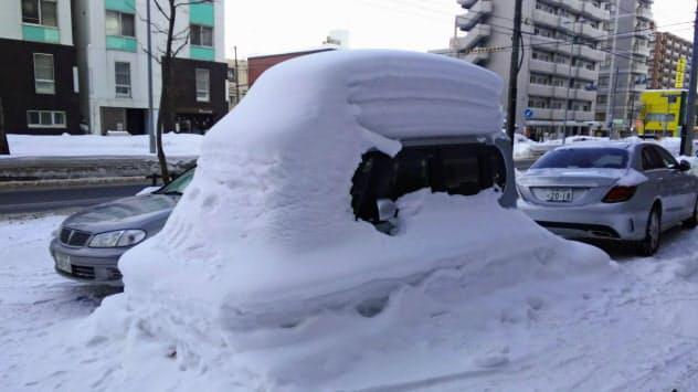 札幌市内でも真冬の降雪量は多い(2月、札幌市内)