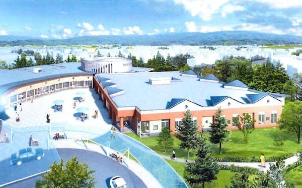 新しい浪岡病院の完成予想図。現浪岡病院の同じ敷地内に建つ