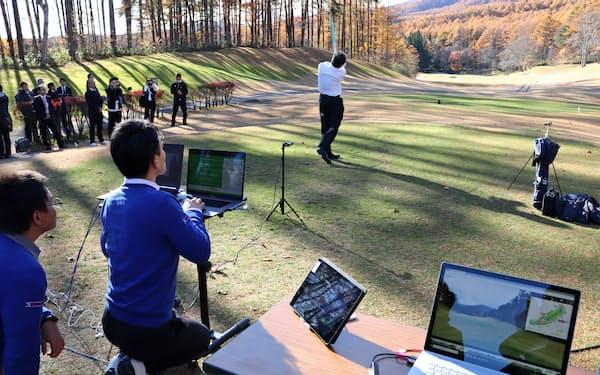 NTTコミュニケーションズなどはゴルフ場で5Gを使って打球の落下点を予測する実験をした(14日、長野市)