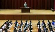亡くなった有山楓ちゃんが通っていた、奈良市立富雄北小で開かれた児童の安全や命の大切さを考える全校集会(15日午前、代表撮影)=共同