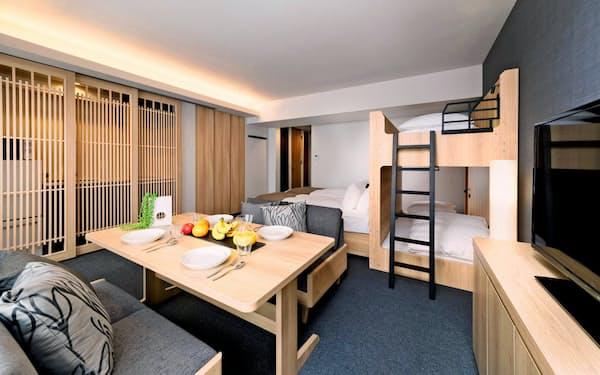 1部屋に4人以上が宿泊できるコスモスイニシアのアパートメントホテル「MIMARU(ミマル)」(京都市)