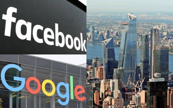 フェイスブックなどIT大手は人材を求めて東海岸に拠点を新設する(ニューヨーク市中心部の再開発地区「ハドソンヤード」)=ロイター