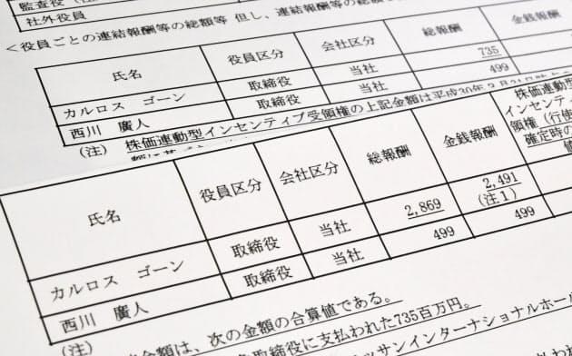 ゴーン元会長の報酬額が訂正された日産の有価証券報告書(手前)。奥は訂正前