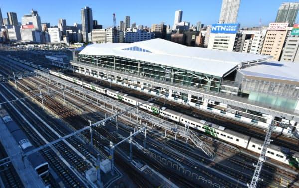品川-田町間に開業する高輪ゲートウェイ駅(16日午前、東京都港区)