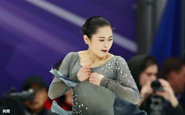 女子フリーで演技する宮原知子(16日、モスクワ)=共同