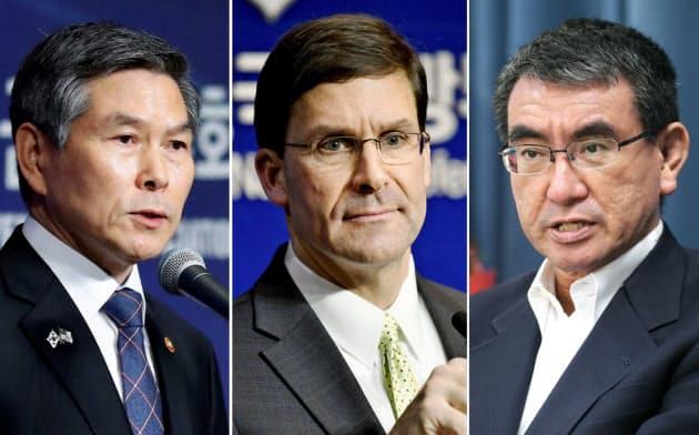 日米防衛相、韓国にGSOMIA継続促す