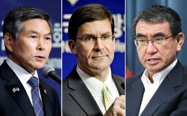 (写真左から)韓国の鄭景斗国防相、エスパー米国防長官、河野防衛相=ロイター