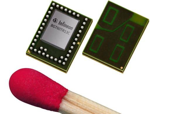 独インフィニオンテクノロジーズが開発した60GHz帯を使ったレーダーチップ。マッチ棒の先大まで小型化した。