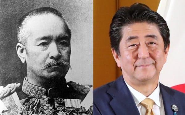 19日時点で首相の通算在任期間トップの桂太郎氏(写真左、共同)と安倍晋三氏