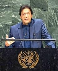 パキスタンのカーン首相(米ニューヨークの国連本部)=国連提供・共同