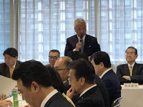 自民党税制調査会の会合であいさつする甘利明会長(19日、党本部)