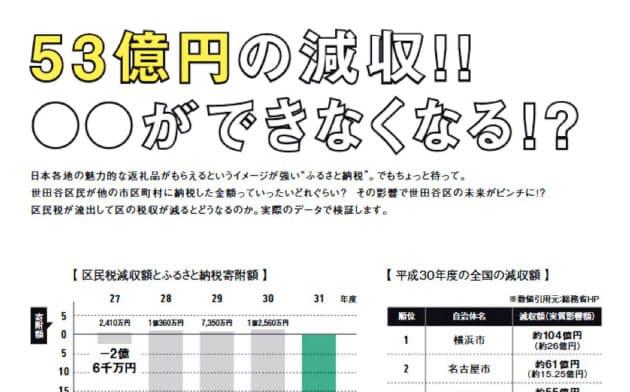 世田谷区はふるさと納税の流出額を強調する冊子を配布している