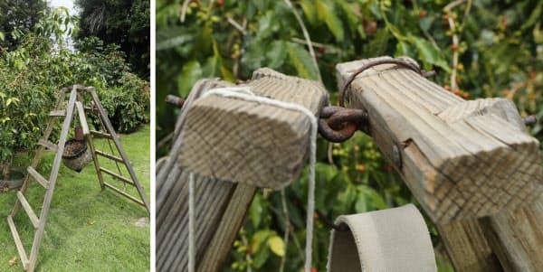 内田さんが作った作業用の脚立は、斜面でも安定する(写真左)傾斜で2つの天板がねじれても安定するよう、天板の結合部分に丸い金具が取り付けられている(同右)