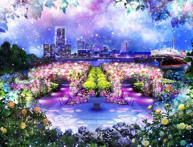 山下公園のバラ園を照明などで装飾する(イメージ)