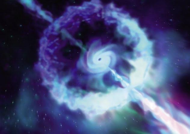 ブラックホールが誕生するときの爆発で放出される「ガンマ線バースト」のイメージ(東京大学提供)