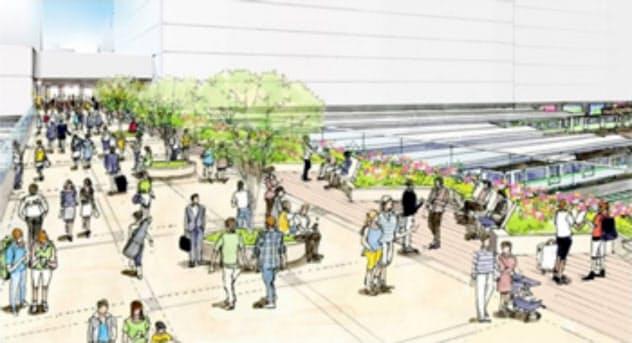 新宿駅周辺の再整備で東西をつなぐ歩行者デッキを設ける(イメージ)