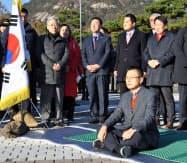 GSOMIA破棄などに抗議するハンストを宣言した韓国・自由韓国党の黄教安代表(20日、ソウル)