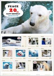 日本郵便四国支社が発売するホッキョクグマ「ピース」20歳の記念切手