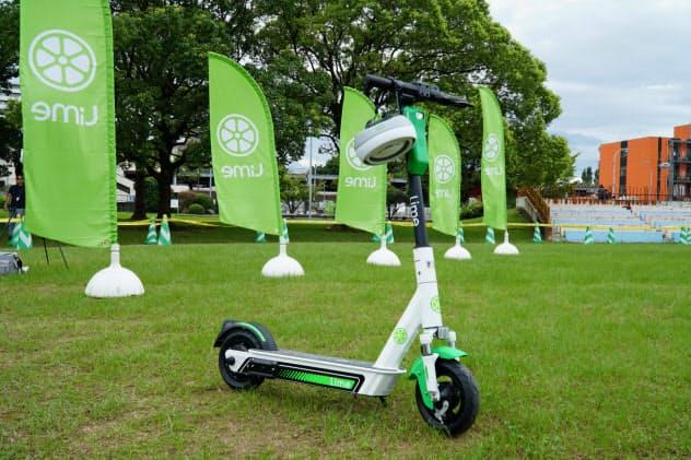 「Lime(ライム)」の電動キックボード車体