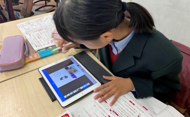 5年生はiPadを使って歴史上の人物をカルタにする授業を実施していた