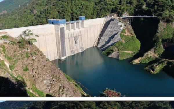 八ツ場ダム((上)は10月10日)は台風19号で満水に((下)は10月23日、群馬県長野原町)