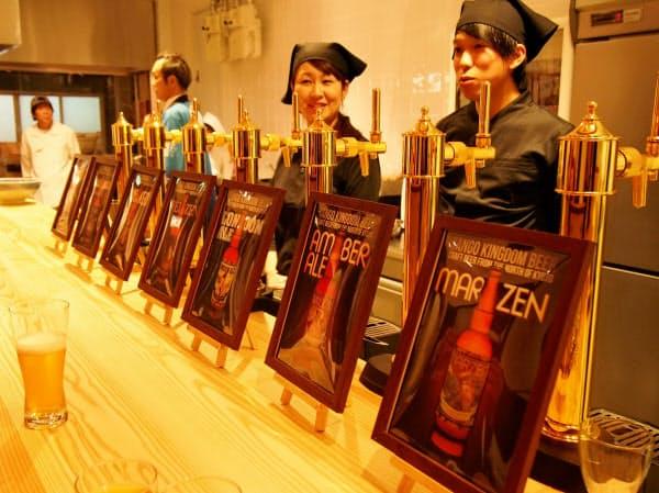 1階では丹後クラフトビールなども販売する(22日、京都市中京区)