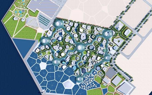 亀の甲羅を集めたような万博会場計画。中心ゾーンには直線道路がない(経産省提供)
